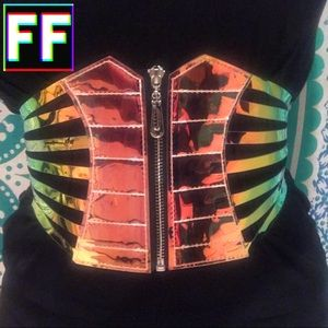 Holographic Strappy Corset Belt